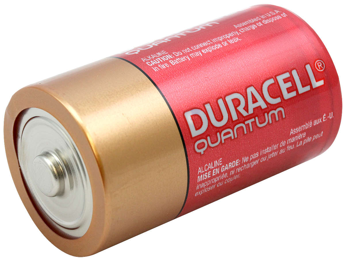 Angle Shot of the Duracell Quantum QU1300 D Battery