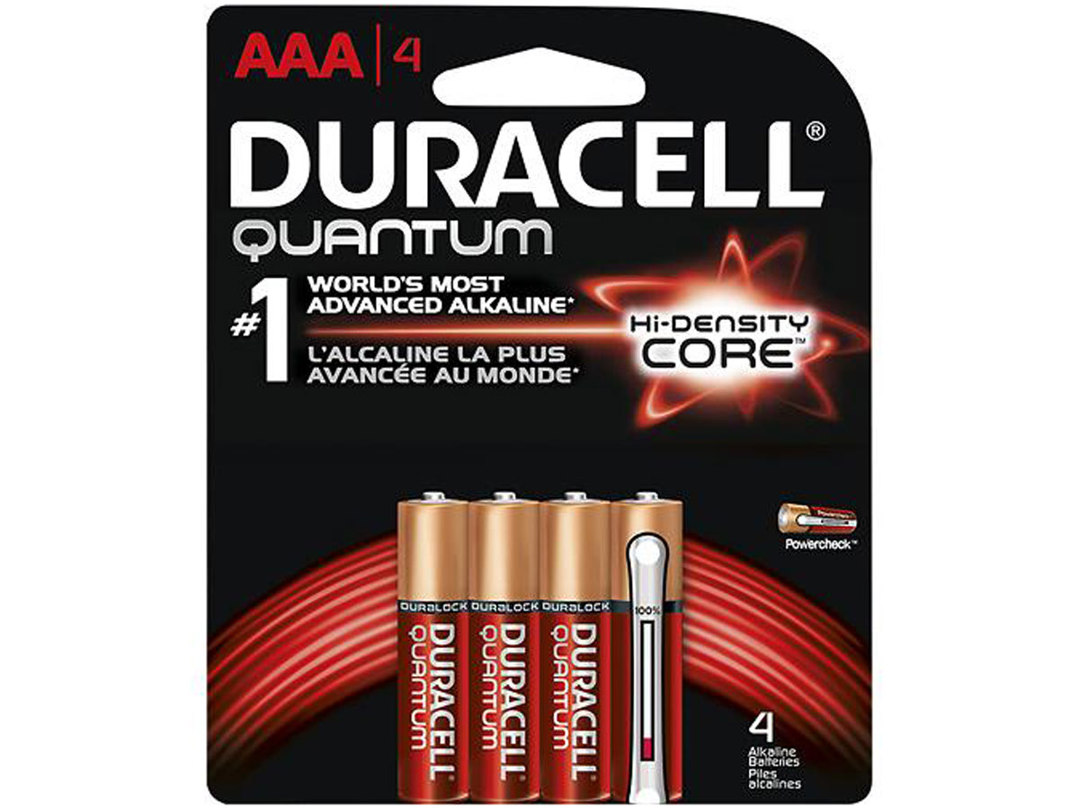 4 Duracell Quantum AAA batteries in retail card