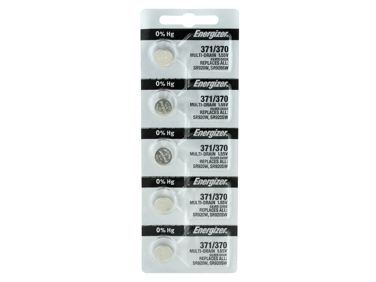 Set of 5 Energizer 371 coin cells in tear strip packaging