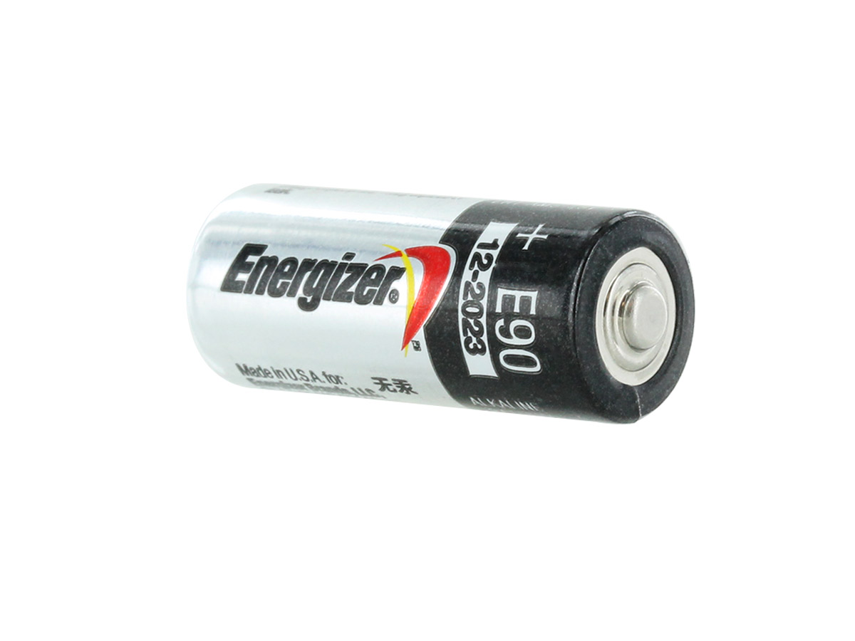 Energizer E90-VP N 1.5V Alkaline Button Top Battery - at an angle showing the positive terminal