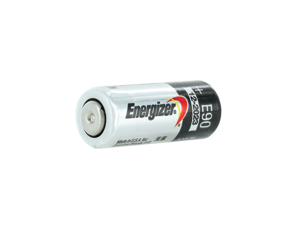 Energizer E90-VP N 1.5V Alkaline Button Top Battery - at an angle showing the negative terminal
