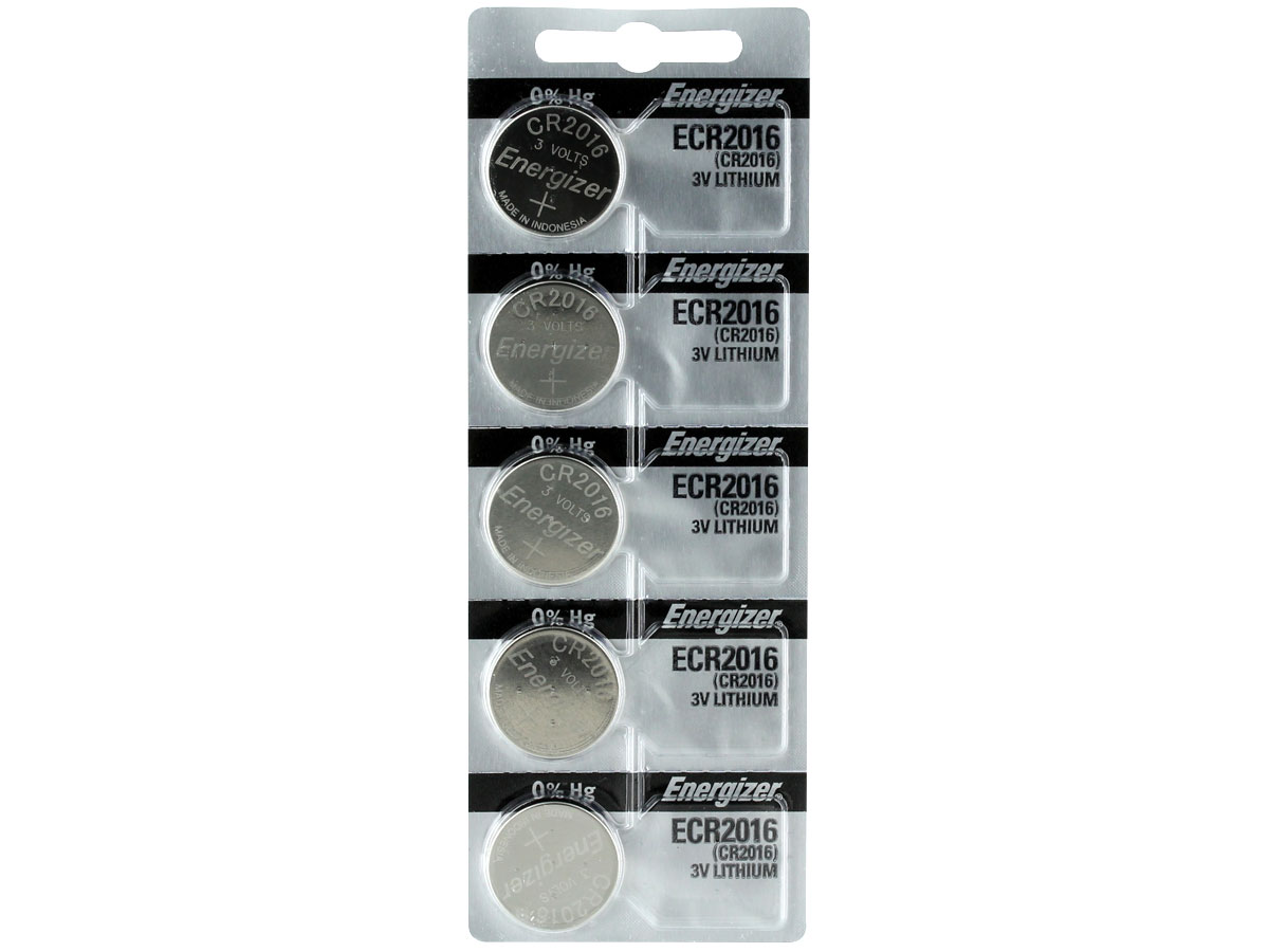 Set of 5 Energizer ECR2016 coin cells in tear strip packaging