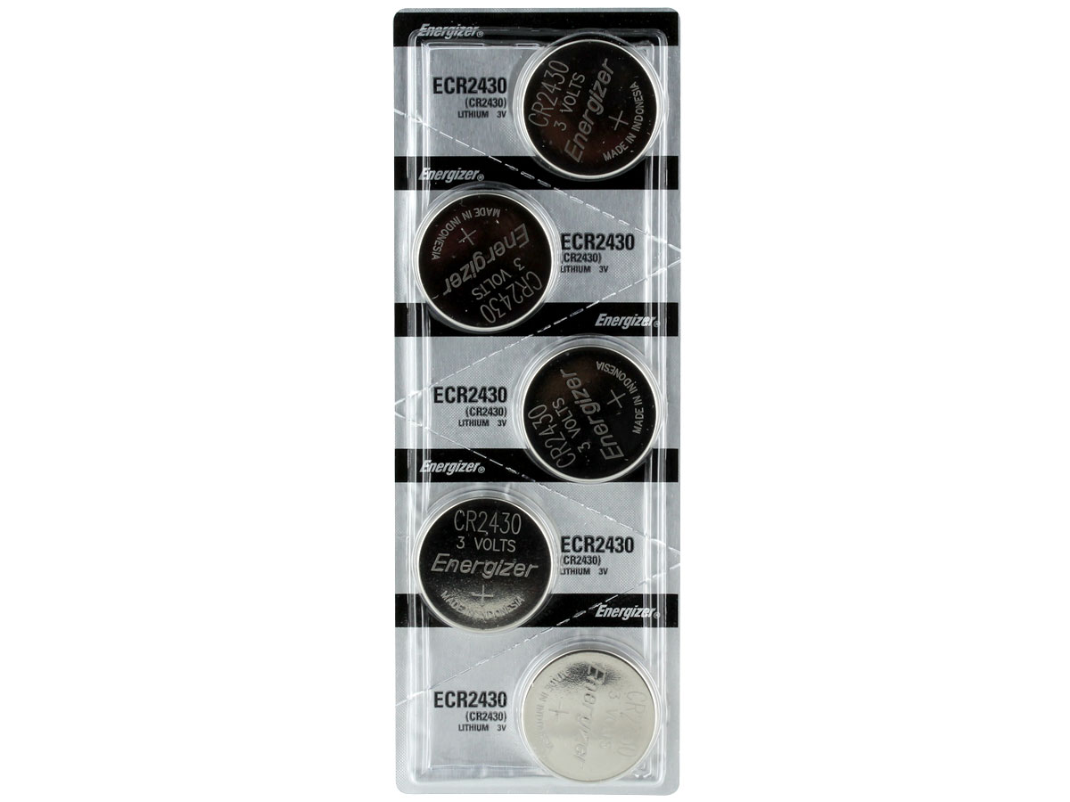 Set of 5 Energizer ECR2430 coin cells in tear strip packaging