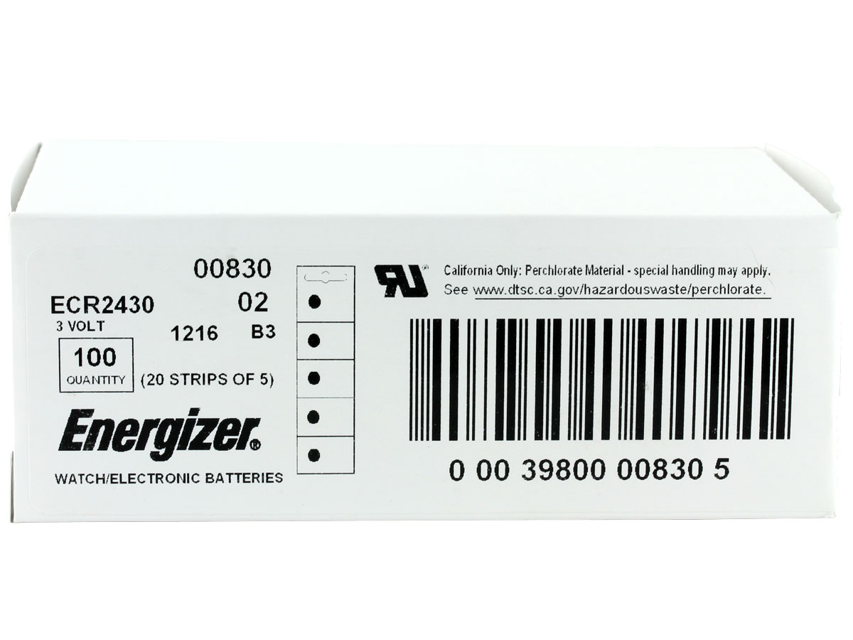 Box for multiple orders of Energizer ECR2430 coin cells