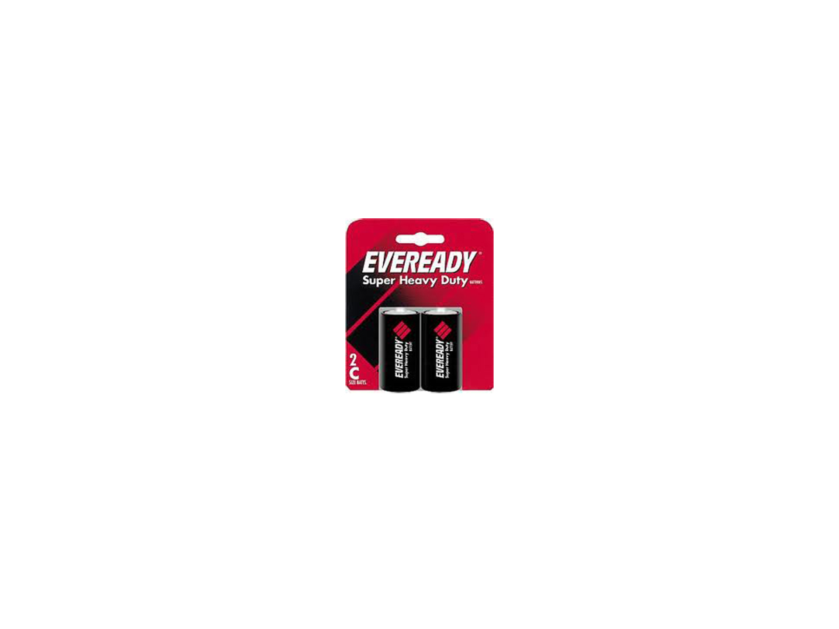 2 Energizer Eveready C-Cells in retail card