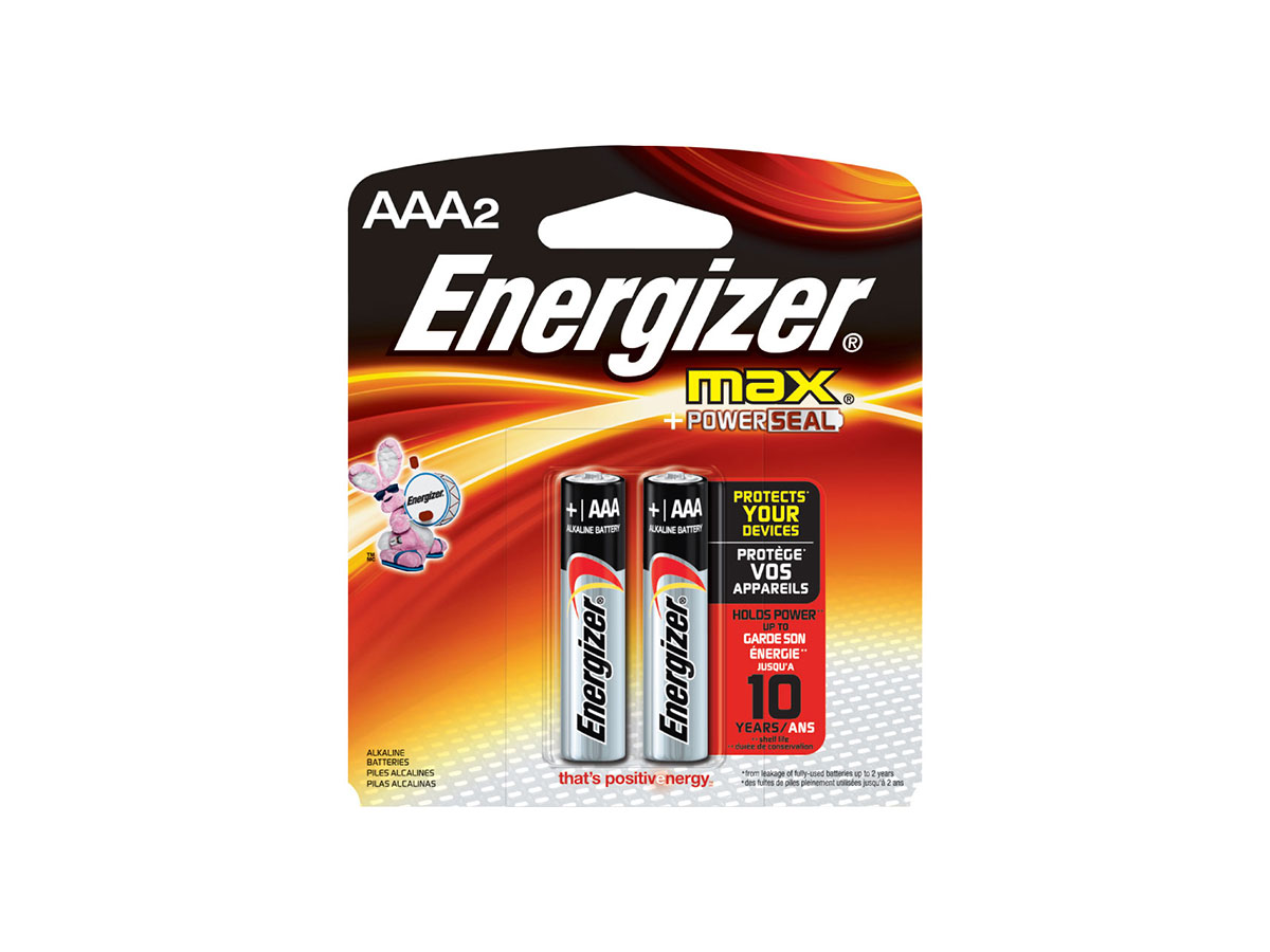 Energizer E92 AAA batteries in 2 piece retail card