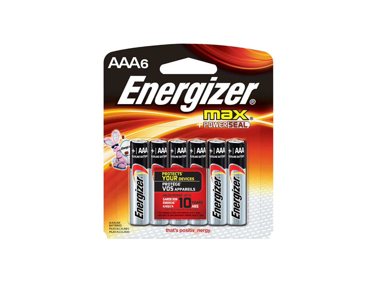 Energizer E92 AAA batteries in 6 piece retail card