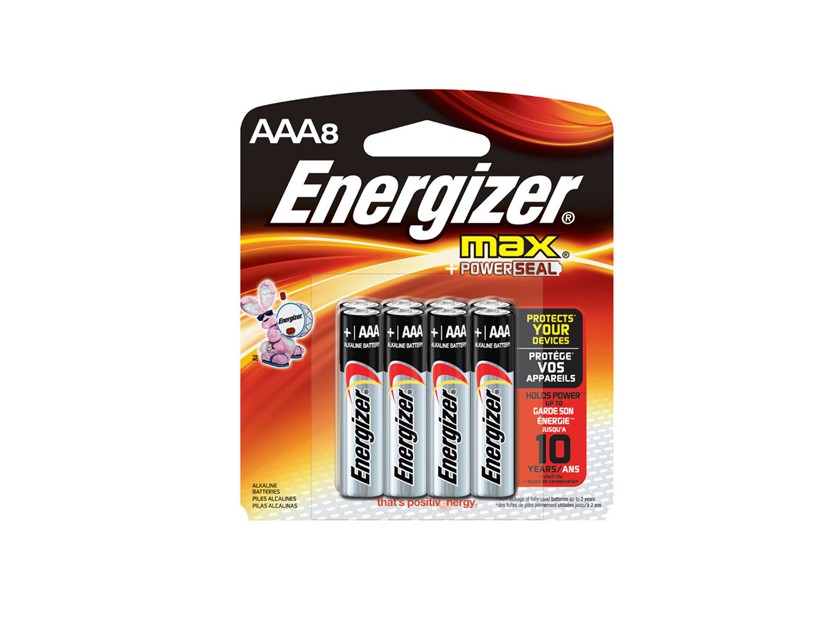 Energizer E92 AAA batteries in 8 piece retail card