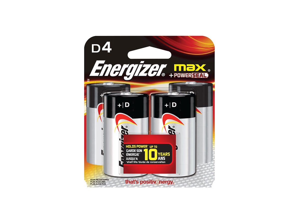Energizer Max E95 D battery in 4 piece retail card