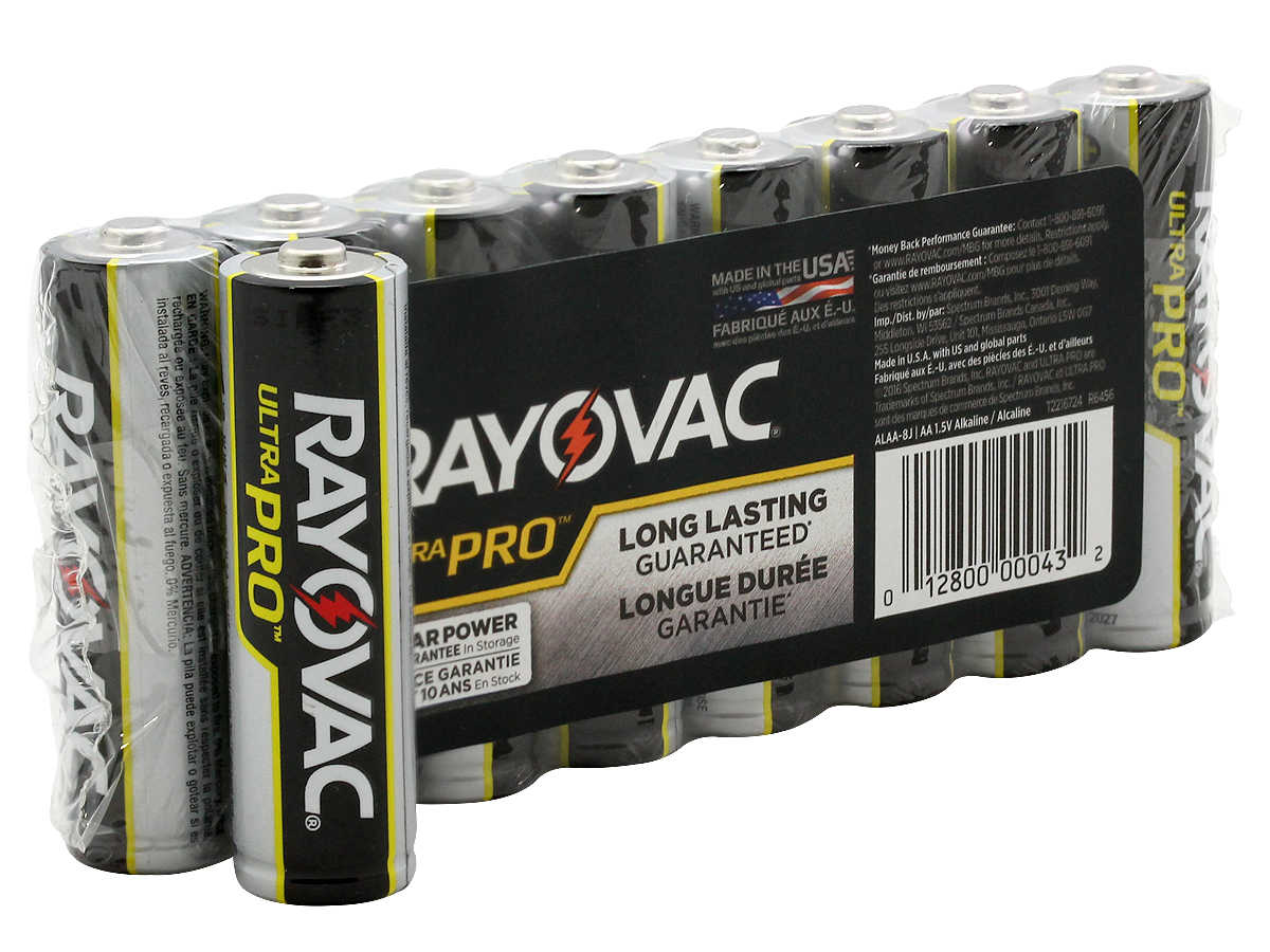 Package Shot of the 8-Pack Shrink Wrap of Rayovac AA Ultra Pro Batteries