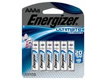 Energizer Ultimate Lithium AAA 1250mAh 1.5V 1.5A Lithium (LiFeS2) Button Top Batteries - 6 Piece Retail Card (L92BPF-6)