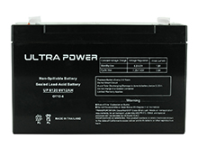 UltraPower UP6120F1 12Ah 6V Rechargeable Sealed Lead Acid (SLA) Battery - F1 Terminal