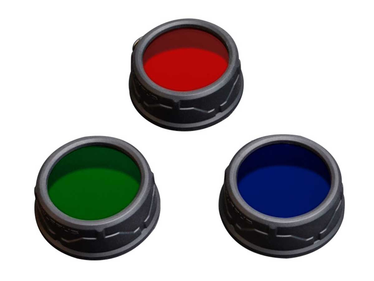 Three different colored filters