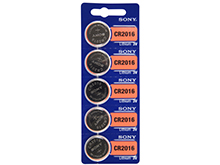 Sony CR2016 90mAh 3V Lithium Primary (LiMNO2) Coin Cell Batteries - 5-Piece Tear Strip