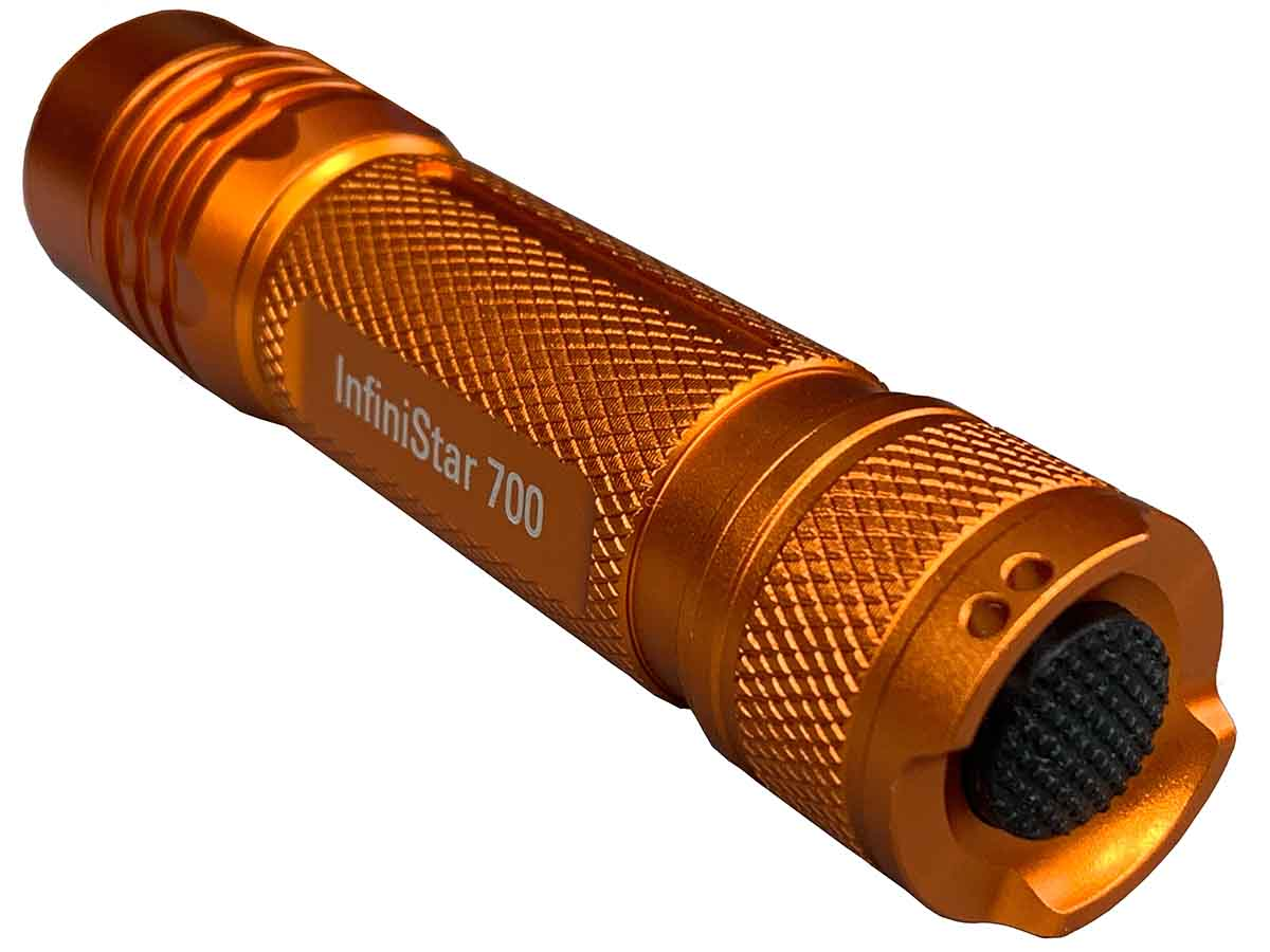 InfiniStar 700 flashlight in orange right side angle