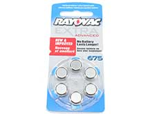 Rayovac R-675AE-60 MF (6PK) Size 675 1.45V Zinc Air Blue Hearing Aid Batteries - 6 Pack Retail Card