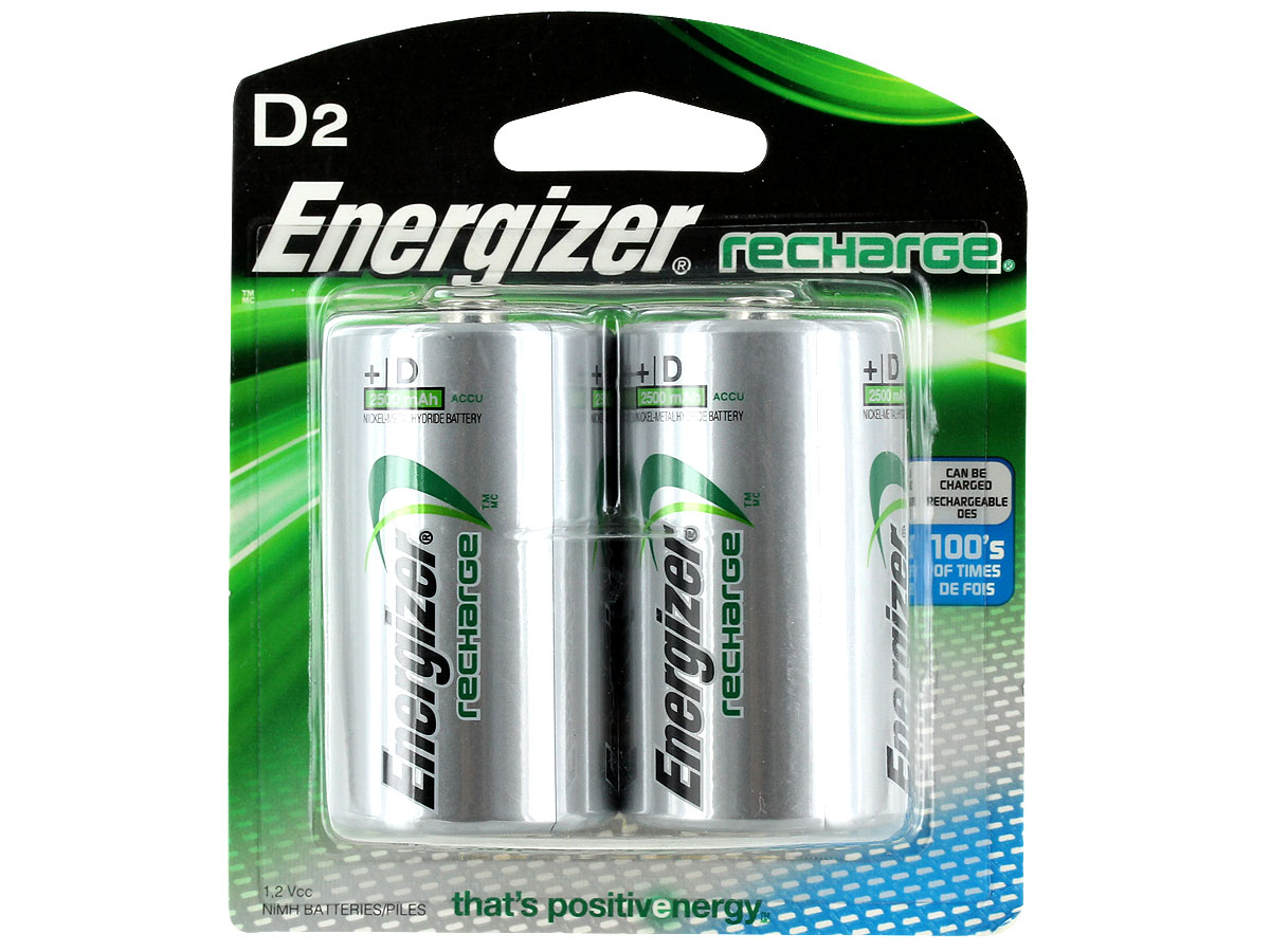 Energizer Recharge D batteries in 2 piece retail card