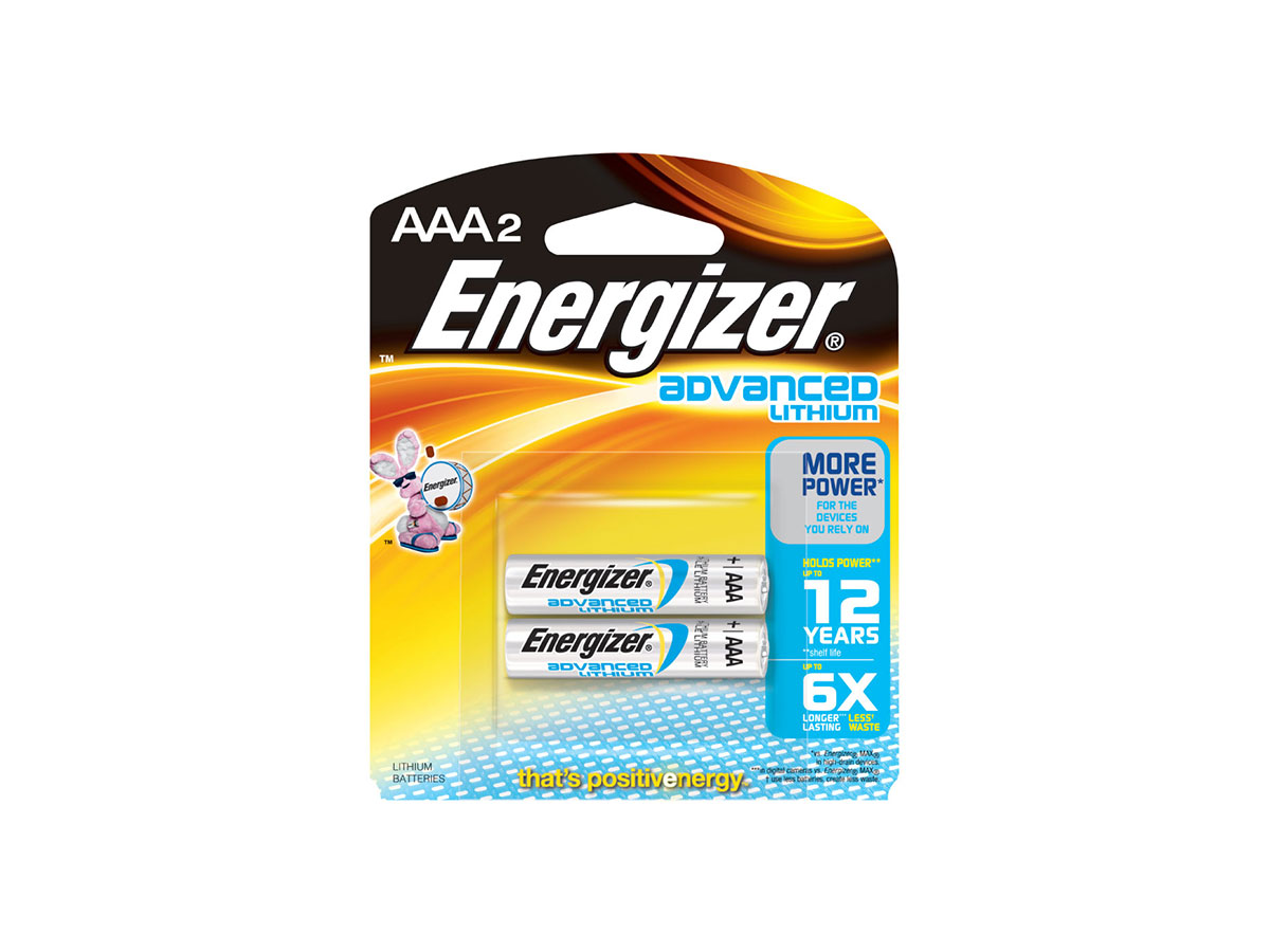 Energizer EA92 AAA batteries in 2 piece retail card