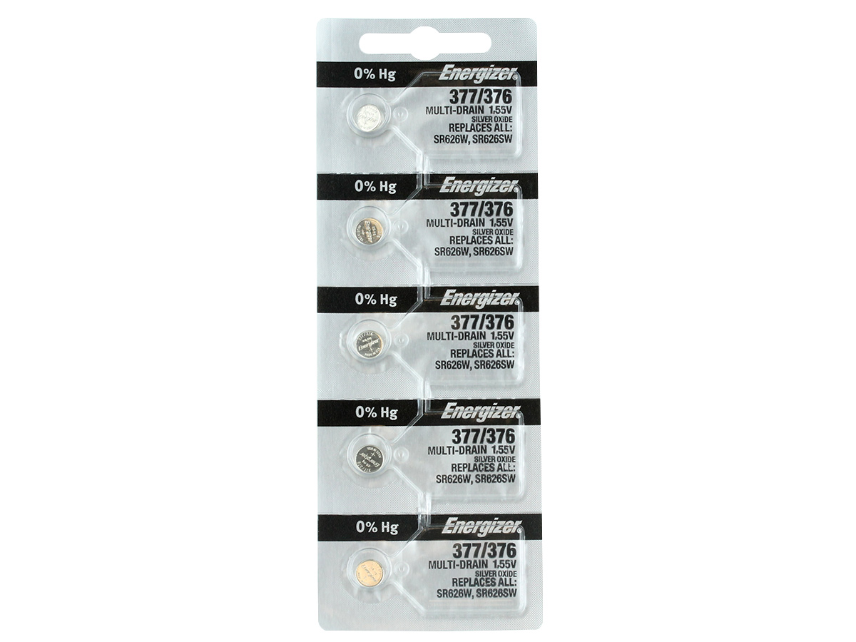 Set of 5 Energizer 377/376 coin cells in tear strip packaging