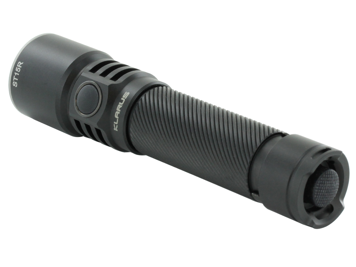 klarus st15r flashlight at an angle showing tail cap