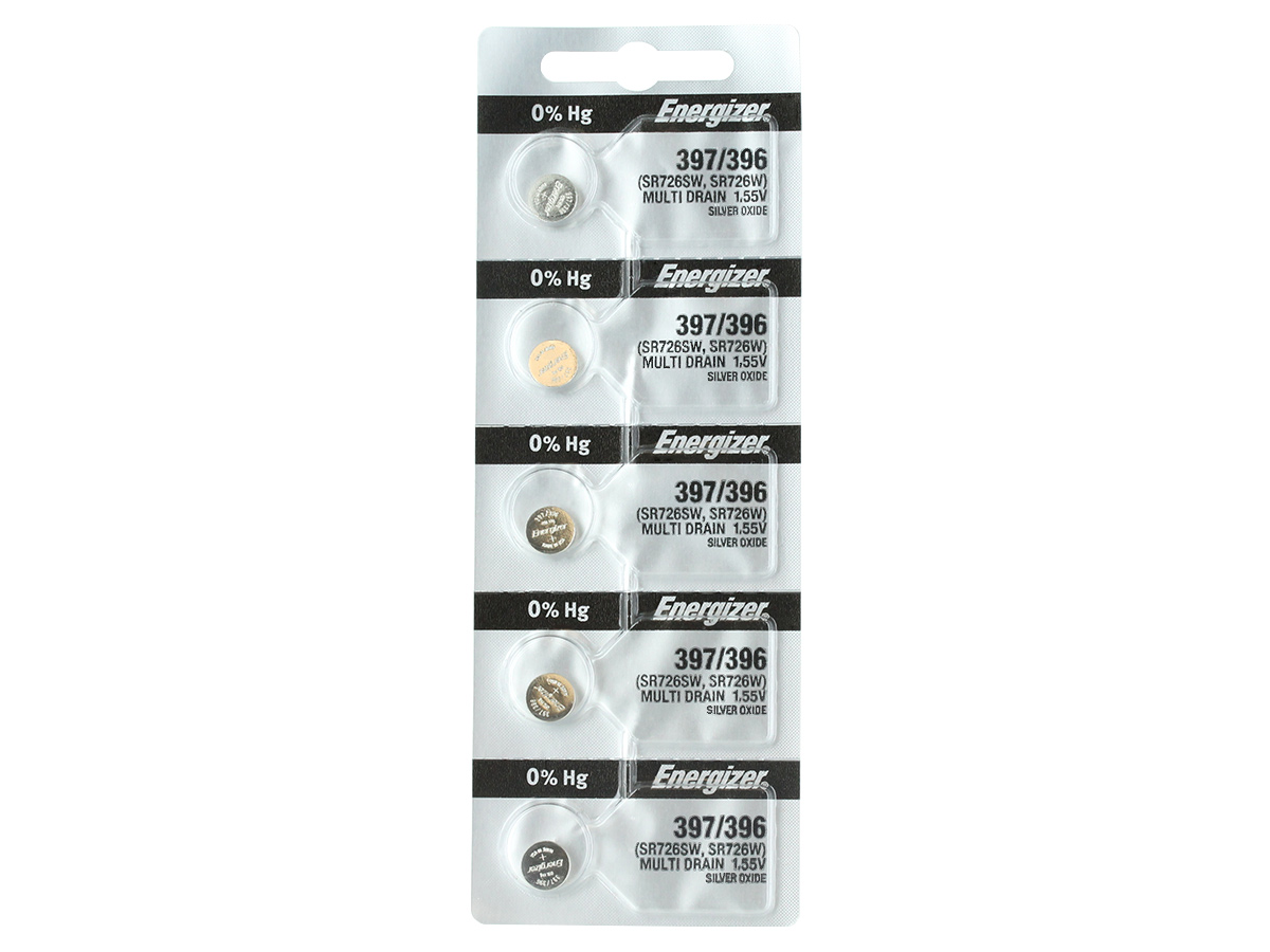Set of 5 Energizer 397/396 coin cells in tear strip packaging