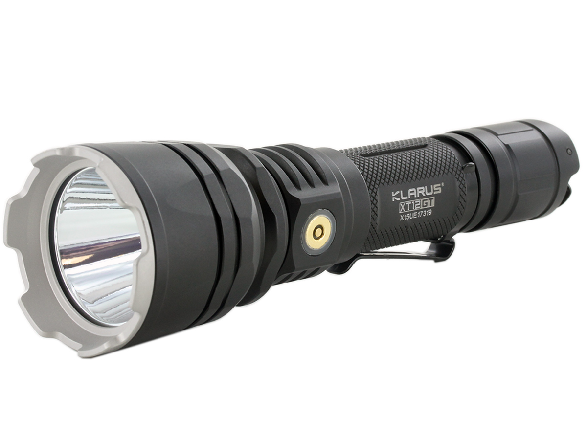 Angle Shot of the Klarus XT12GT Rechargeable LED Flashlight
