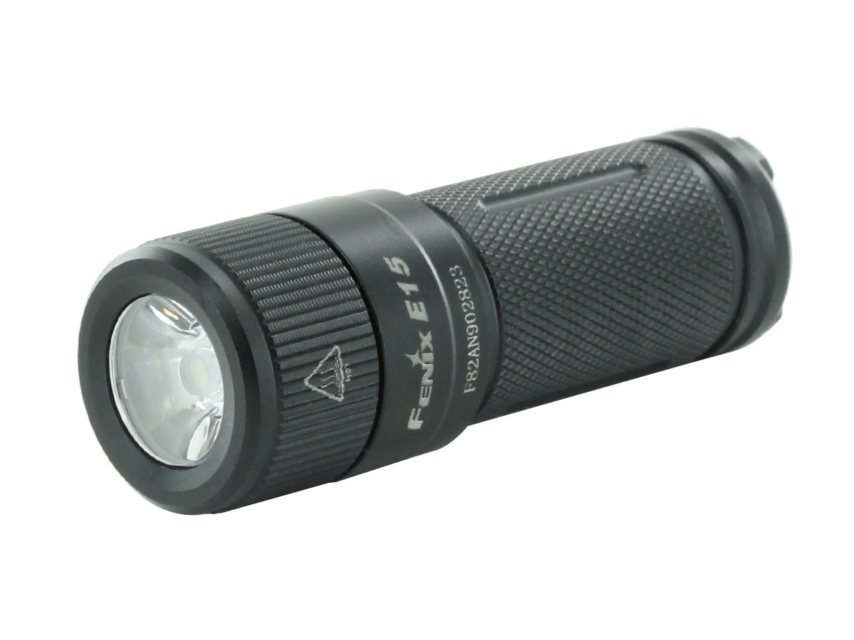Fenix E15 flashlight left side angle