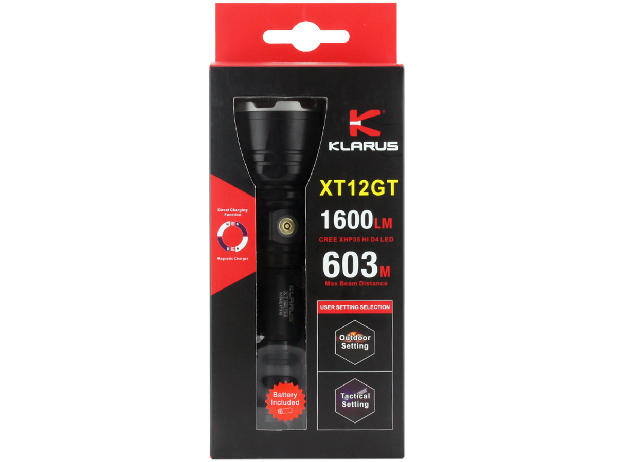 Package Shot of the Klarus XT12GT Rechargeable LED Flashlight