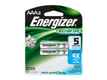 Energizer Recharge NH12-BP-2 AAA 850mAh 1.2V Nickel Metal Hydride (NiMH) Button Top Batteries - 2 Piece Retail Card