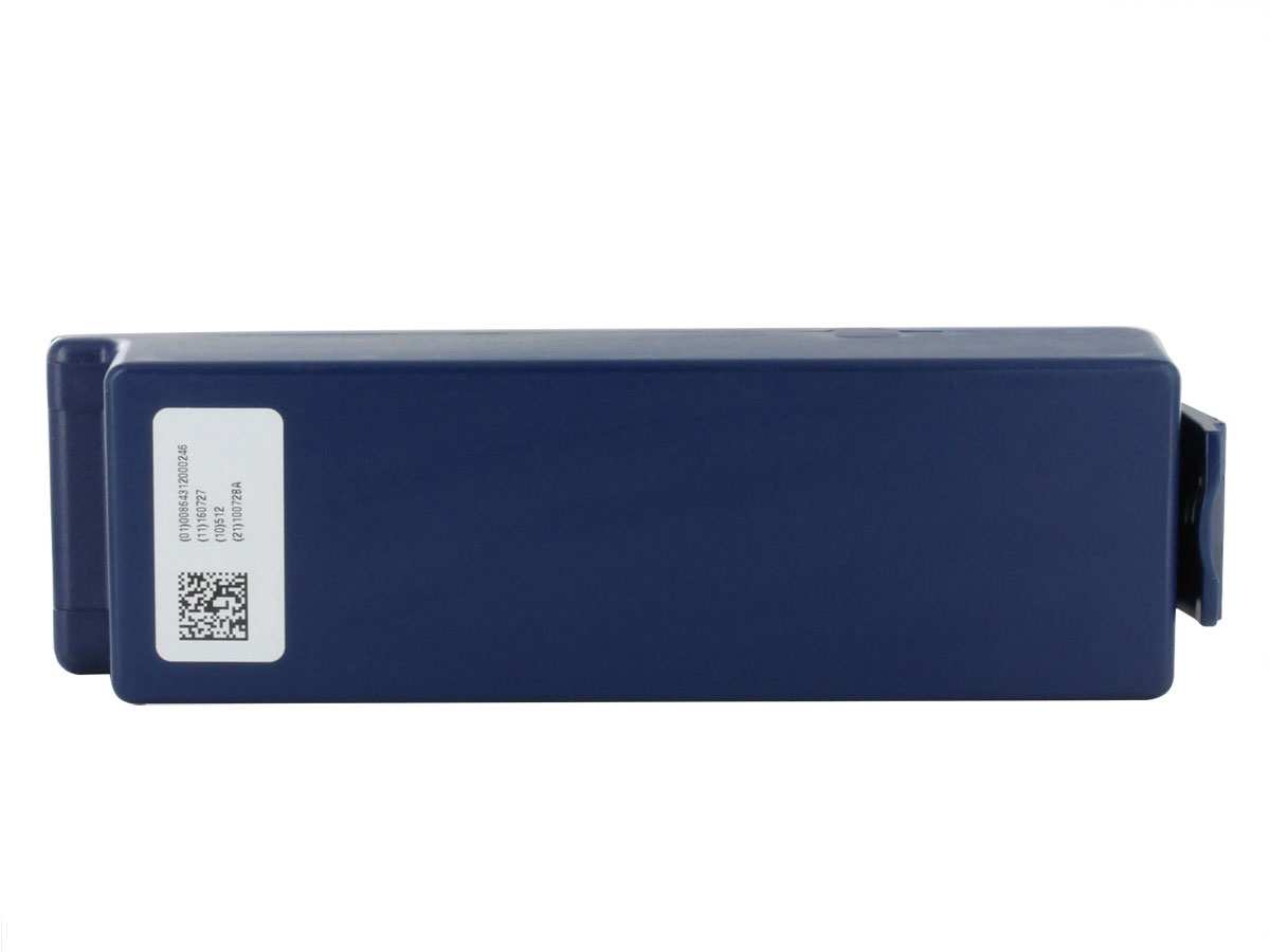 Cardiac Science AED Replacement Battery Pack 9146 - Blue -  showing the backside of the battery