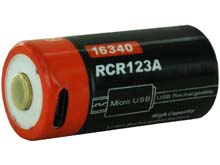 Fitorch RC650 16340 650mAh 3.7V Protected Lithium Ion (Li-ion) Button Top Battery with Built-In Micro USB Charge Port
