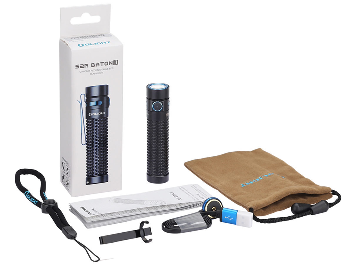 Olight S2R II with accessories, manual, and packaging