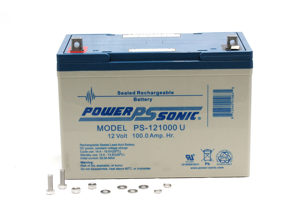 Powersonic-PS-121000-U sealed lead acid battery with nuts, bolts, additional parts