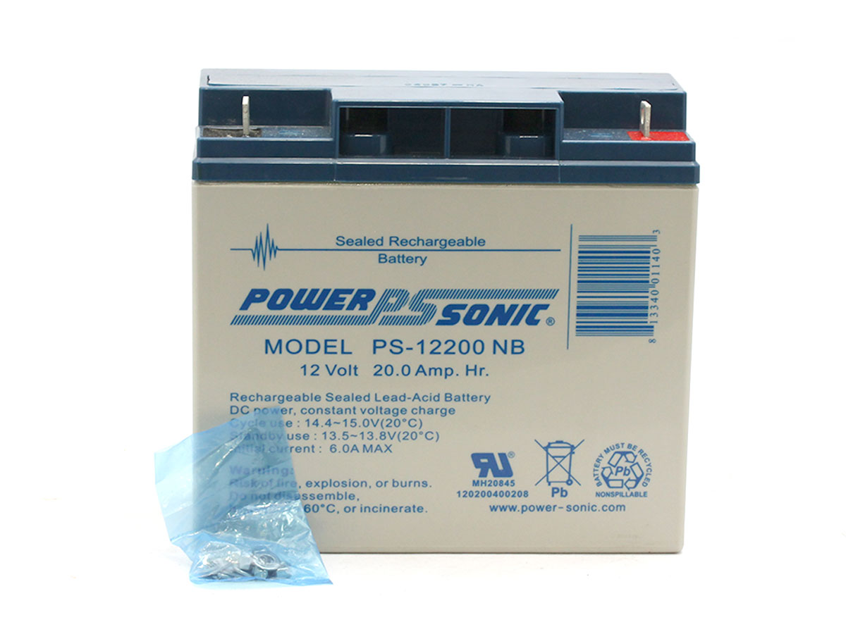 Picture of Powersonic PS-12200 lead acid battery with parts
