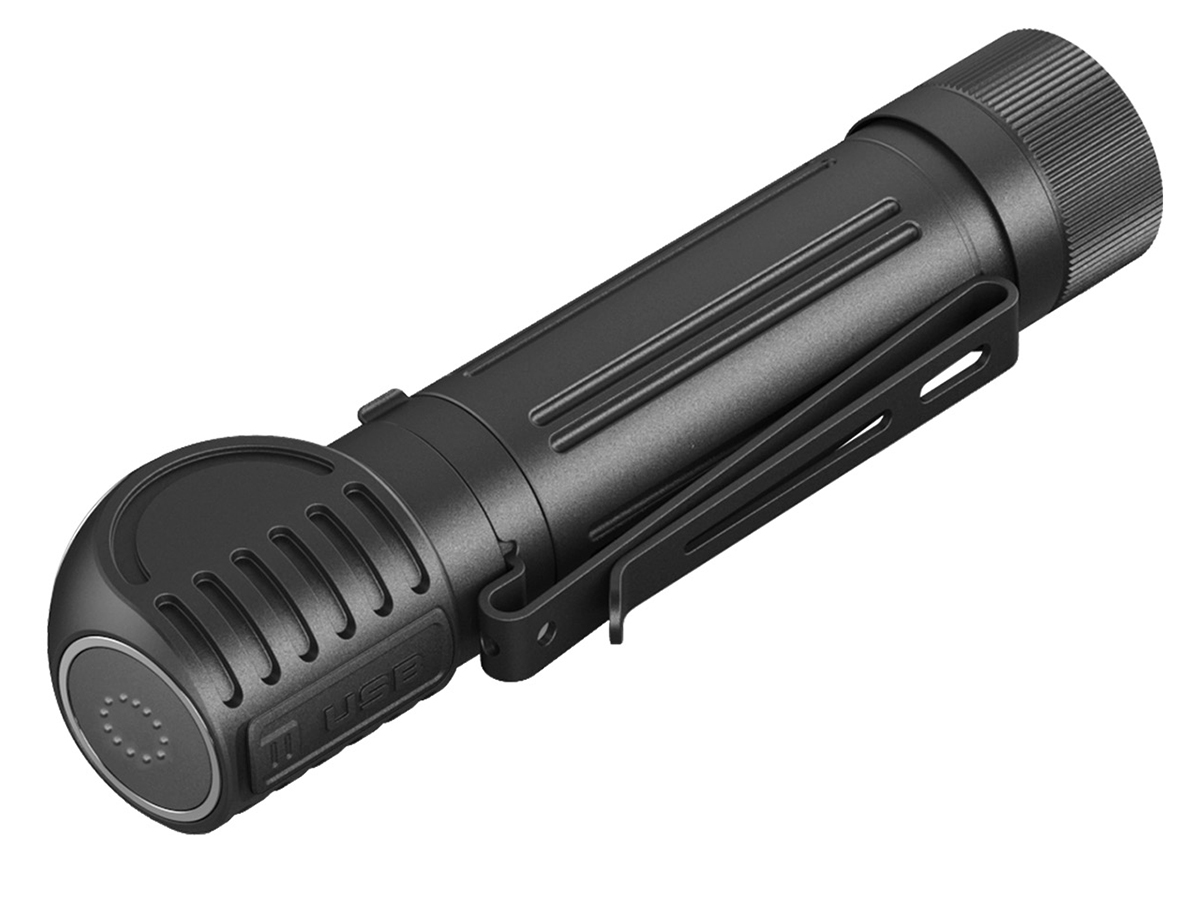 Klarus HA2C light detached from headband, side angle with view of switch