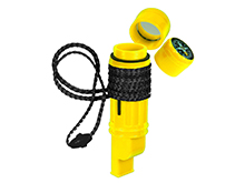 Ultimate Survival Technologies 5-in-1 Survival Tool - Includes Compass, Whistle, Mirror, & Flint Bar - Yellow (20-02792)