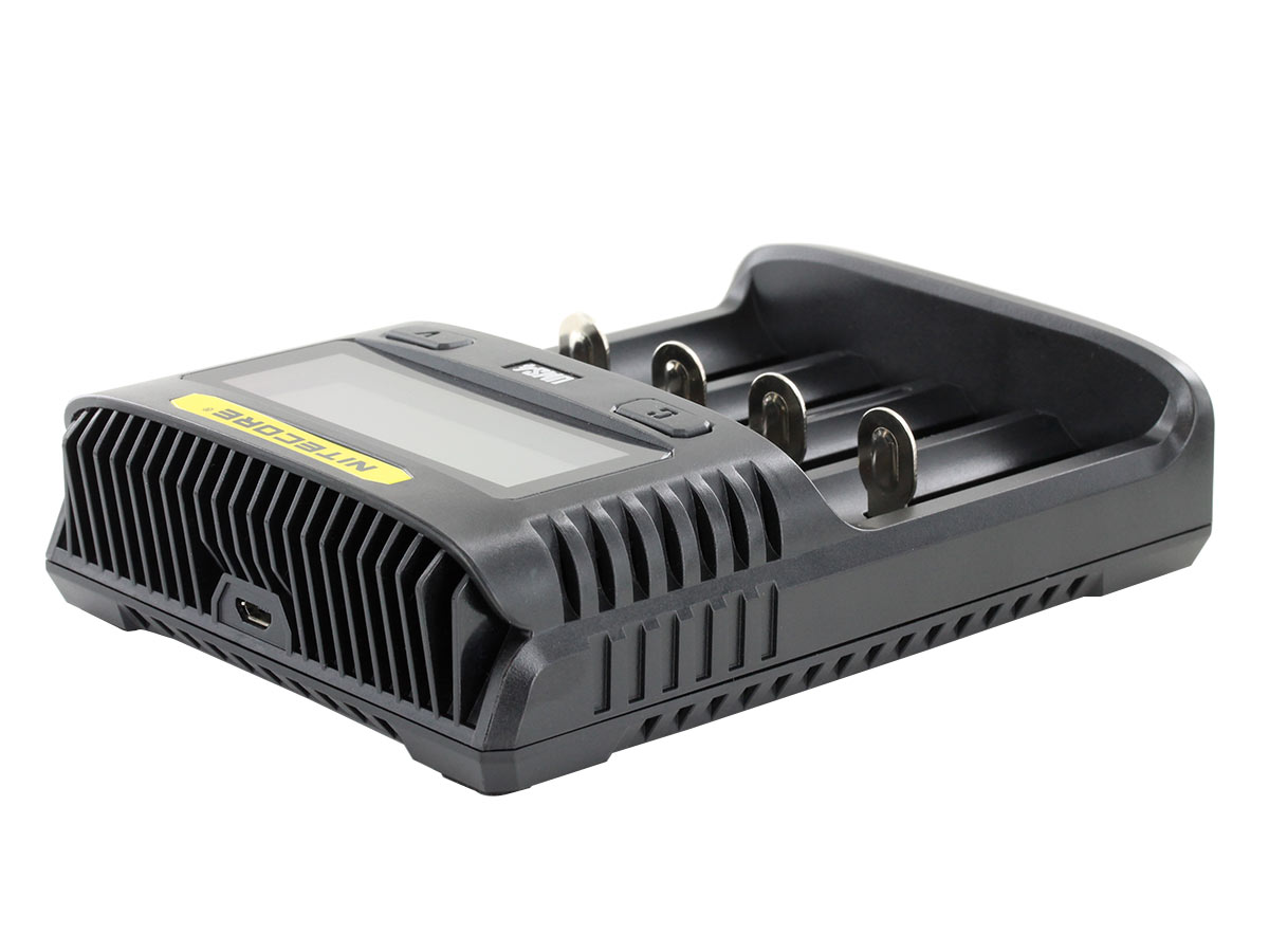 Nitecore UMS4 Charger laying flat at an angle to see the channels