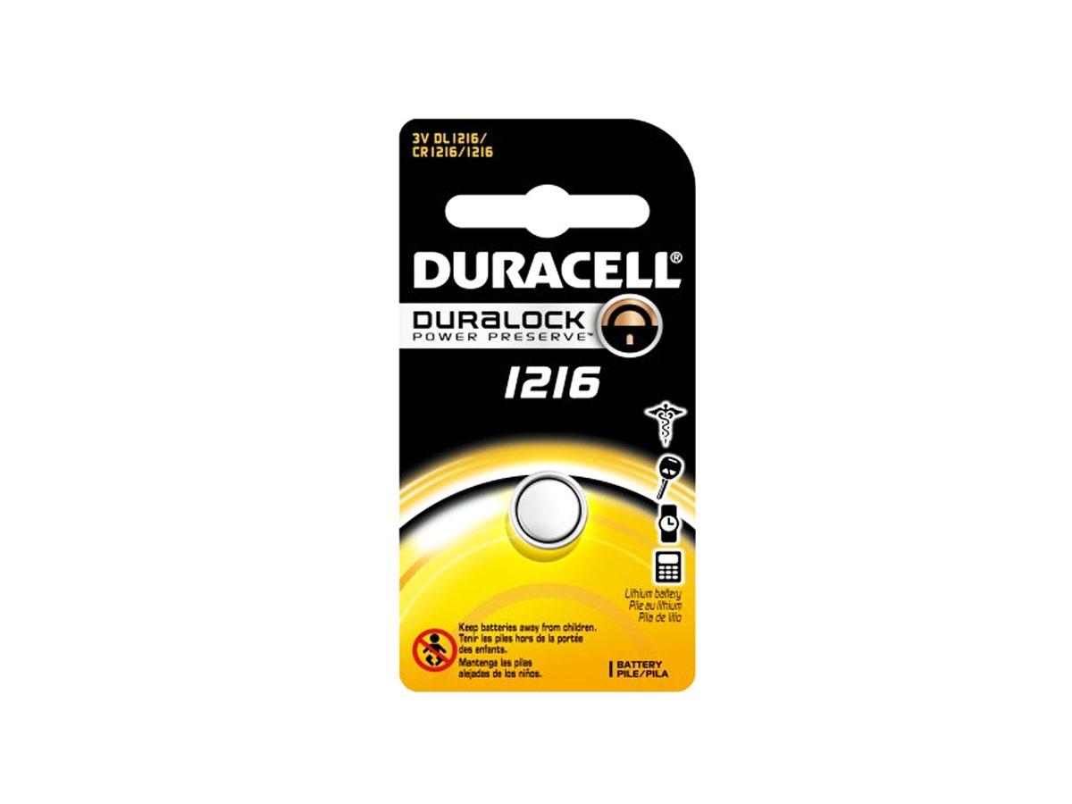 Duracell CR1216 coin cell in retail card