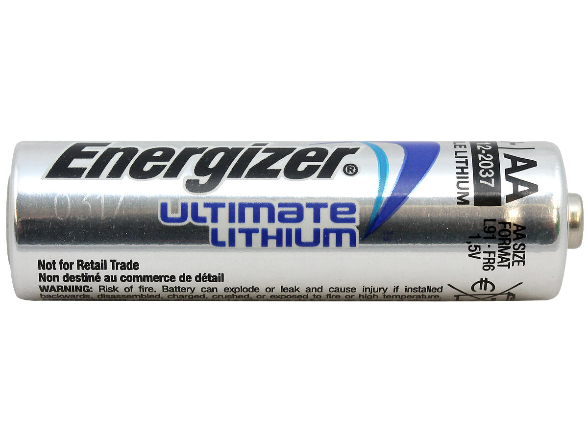 Single Energizer Ultimate L91 AA battery side profile