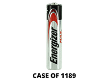 Energizer Max E92 (1189PK) AAA 1.5V Alkaline Button Top Batteries - Case of 1189