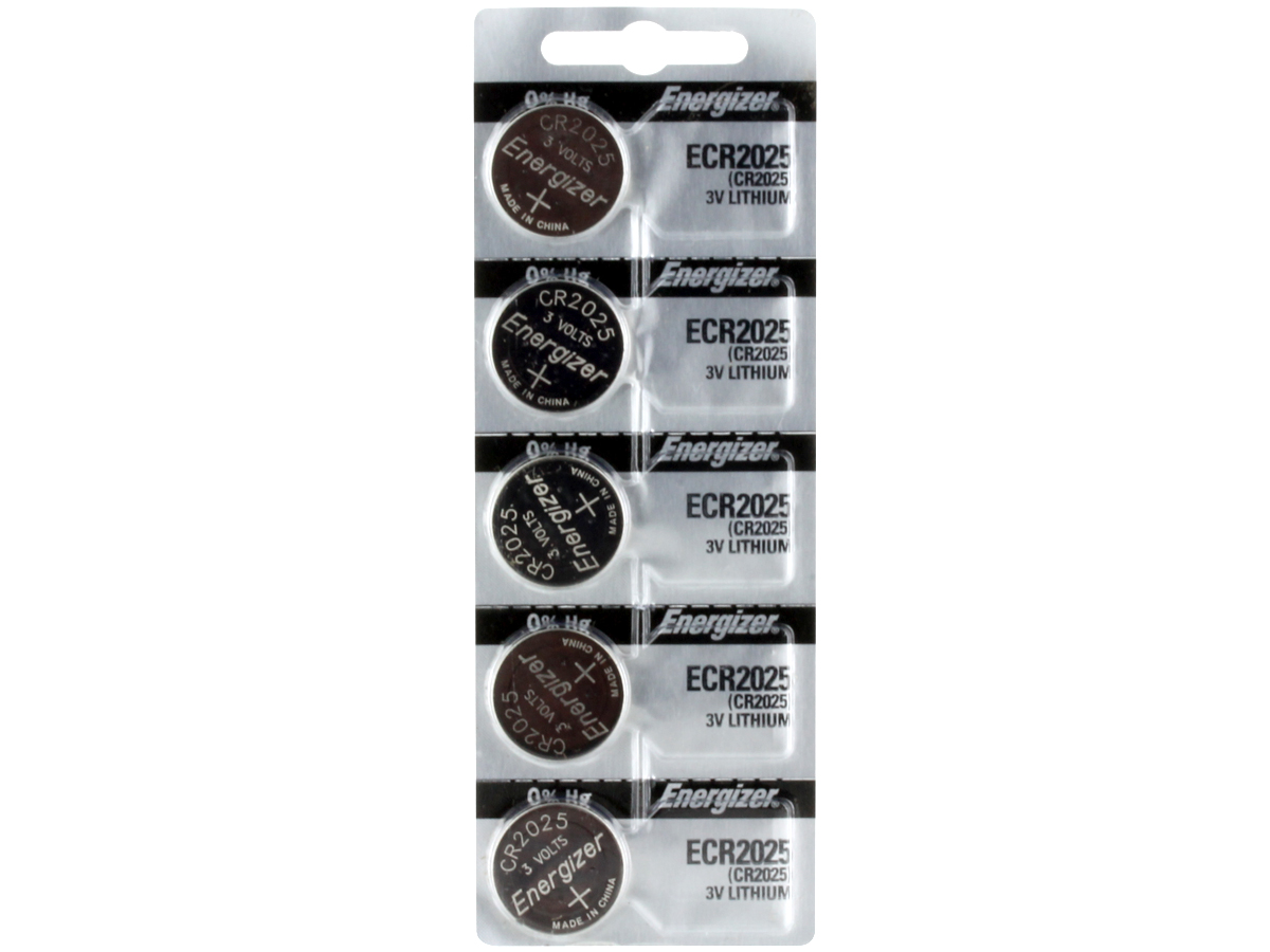 Set of 5 Energizer ECR2025 coin cells in tear strip packaging