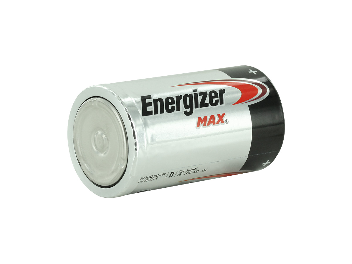Energizer Max E95 D battery right side angle