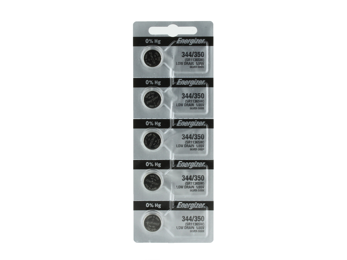 Energizer 344 coin cell in set of 5 tear strip packages