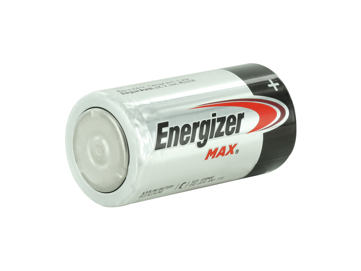 Energizer Max E93 C battery right side angle