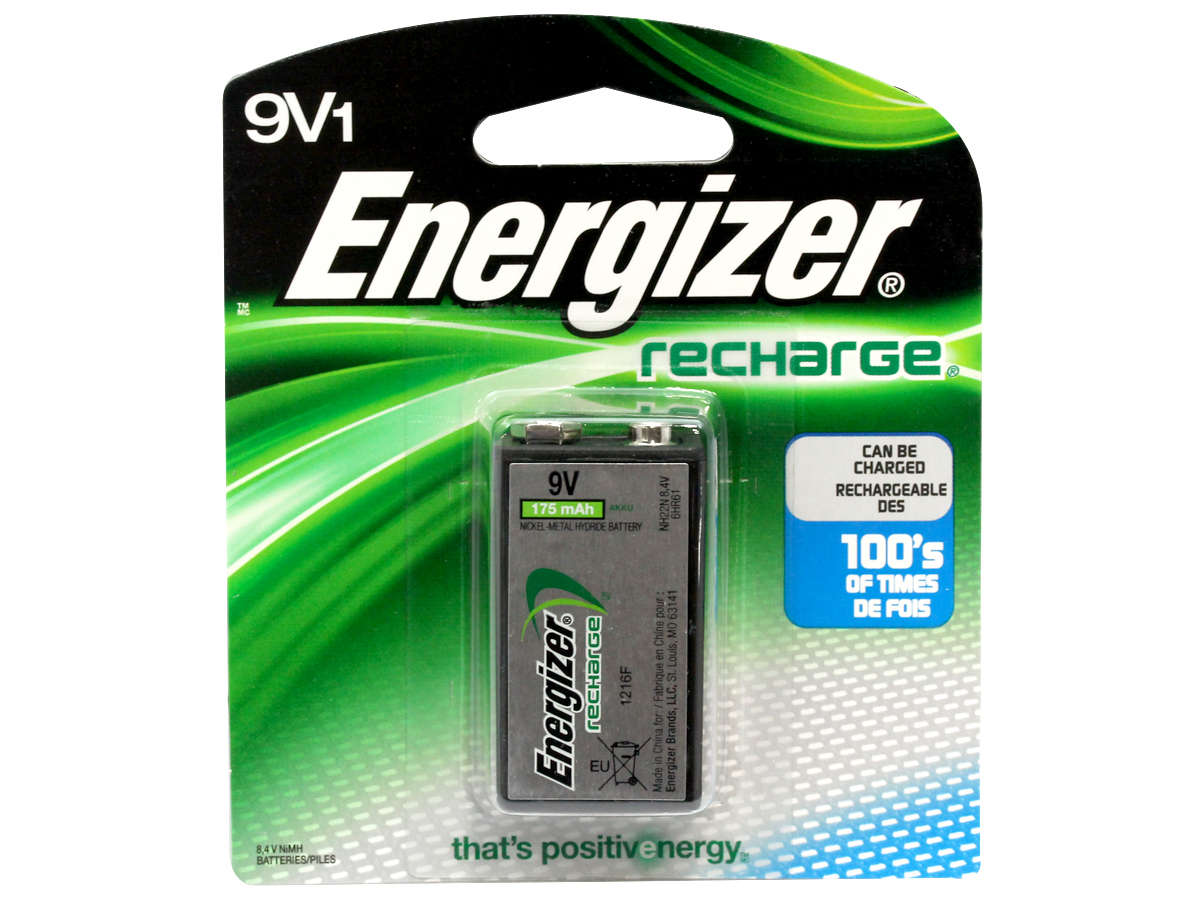 Energizer Recharge 9V battery in retail card