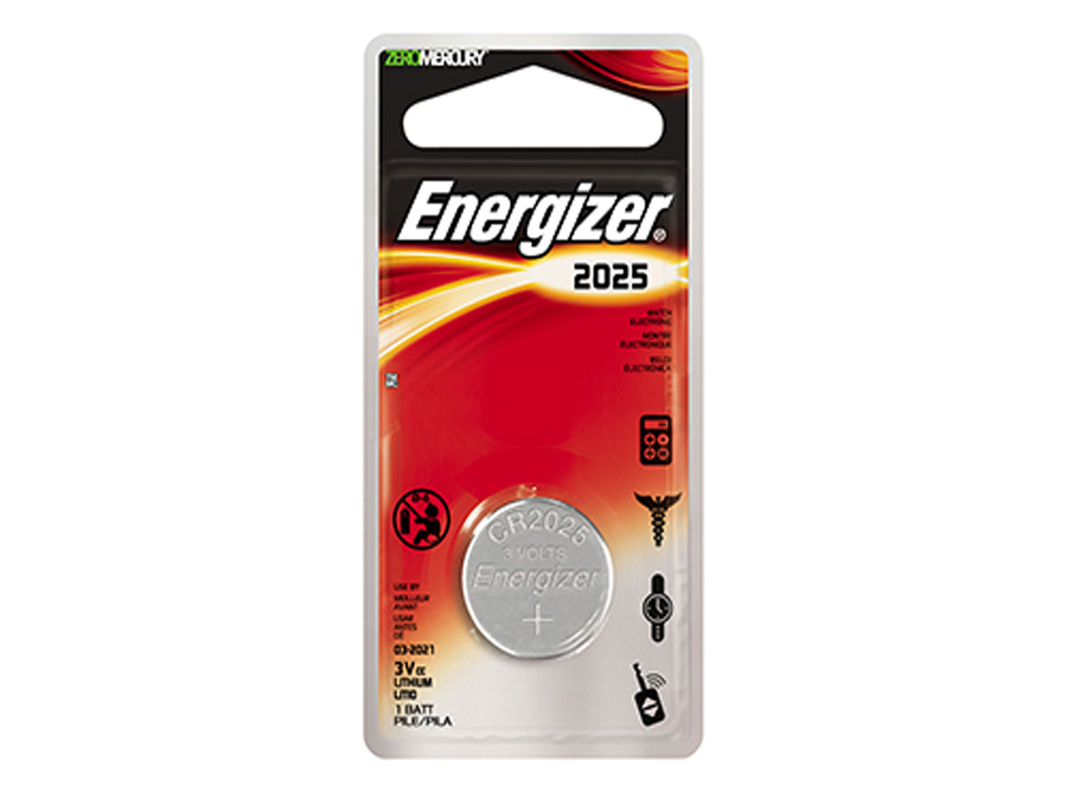 Energizer ECR2025 coin cell in 1 piece blister packaging
