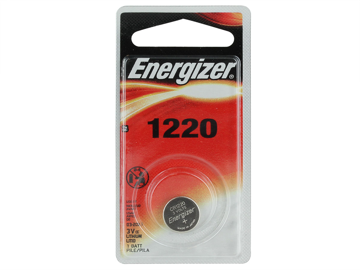 Energizer ECR1220 coin cell in 1 piece blister packaging