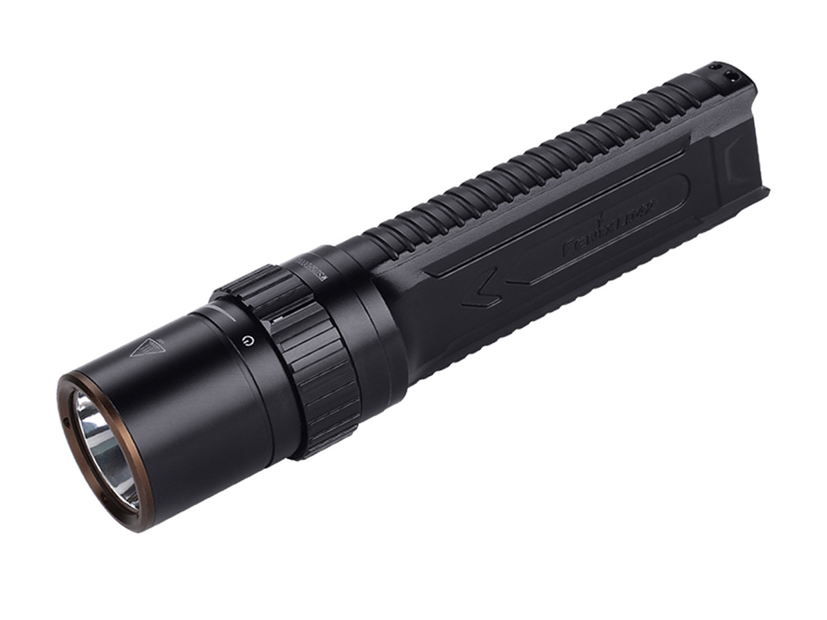 Fenix LD42 flashlight at an angle facing left on a white background
