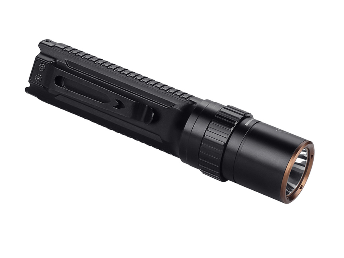 Fenix LD42 flashlight at an angle facing right with the pocket clip showing, on a white background