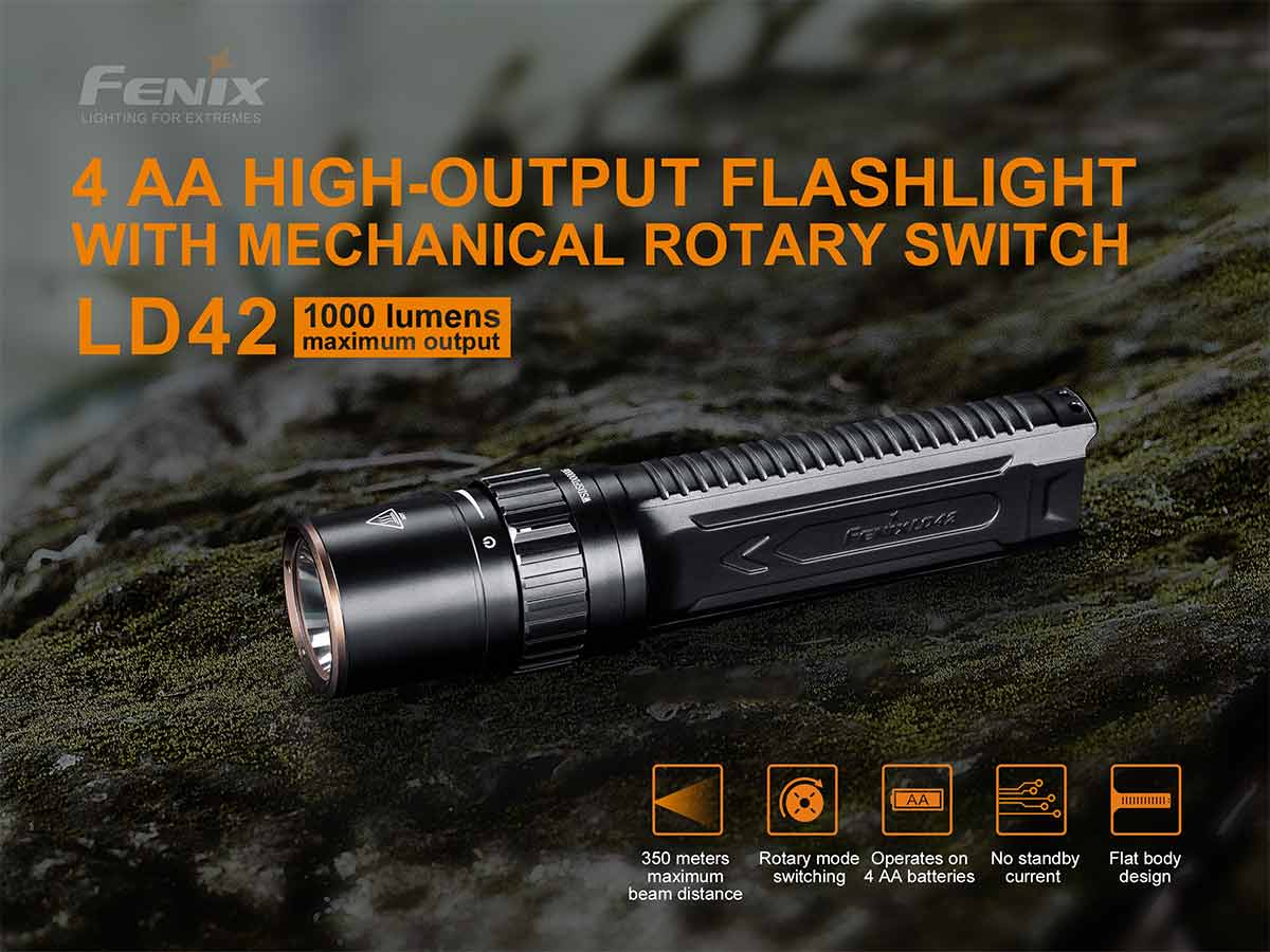 fenix ld42 manufacturer slide with main features, flashlight shown on a mossy rock
